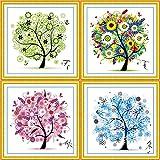 Cleana Arts Kits de punto de cruz, Árbol de cuatro estaciones, 11CT 3 hilos, Kits de bordado estampado, 45cm × 45cm