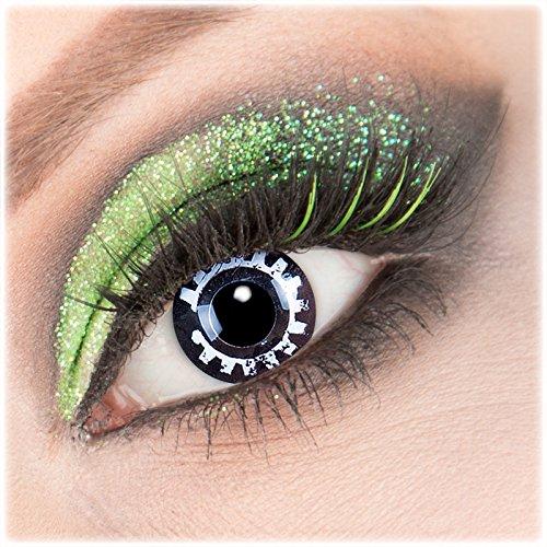 Farbige schwarze weiße 'Steam Punk' Kontaktlinsen 1 Paar Crazy Fun Kontaktlinsen mit Kombilösung (60ml) + Behälter zu Fasching Karneval Halloween - Topqualität von 'Giftauge' ohne Stärke