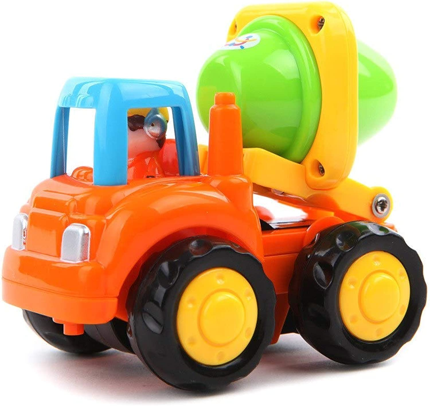 Push and Go Friction Powered Car Toys Set Tractor Bulldozer Mixer Truck and Dumper Pull Back Vehicles Friction Powered Cars Green