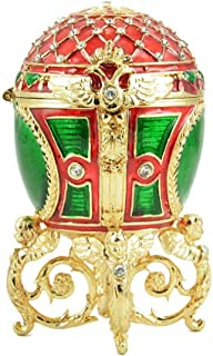 Russian Style Easter Egg Trinket Box with Mesh Pattern, Crystals and Angels (red and Green), 3.5