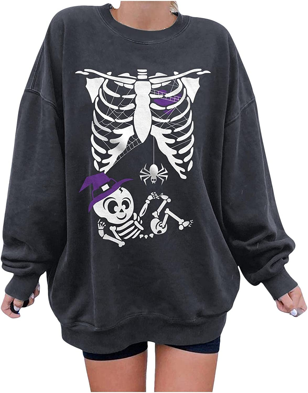 FABIURT Long Sleeve Shirts for Women, Womens Tops Gothic Skeleton Printed Blouses Fashion Round Neck Pullover Sweatshirts
