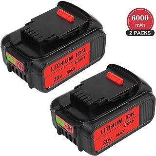 2 Packs 6.0Ah 20 Volt MAX Replace for Dewalt 20V Battery Lithium-ion DCB205-2 DCB205 DCB203 DCB200 DCB201-2 DCB201 DCB200 Cordless Power Tool