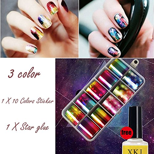 Lot de 10 feuilles de transfert Igemy pour nail art - 10 couleurs métallisées différentes - Avec colle - Pour décoration d'ongles