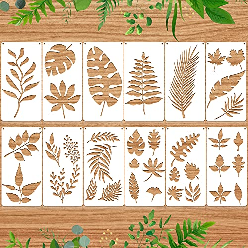 12 Plantillas de Pintura de Hojas Reutilizable Plantilla de Patrón de Hoja de Pared Plantilla de Pintura Reutilizable de Hoja Tropical para Pintar en Pared Piso Madera Muebles Decoración