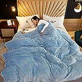 Baixtuo Mantas para Sofa Mantas para Mantas para Cama Mantas Ligeras De Limpiar - Extra Suave CáLido (Azul y Blanco, 120x200)