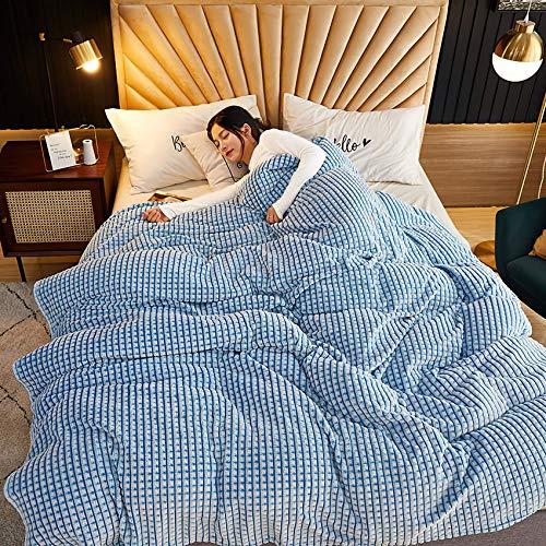 Baixtuo Plaid Couverture ,Couverture en épaisse Douce Et Confortable, Peut être Utilisée comme Draps De Lit, Couverture bébé (Bleu et Blanc, 180x200)
