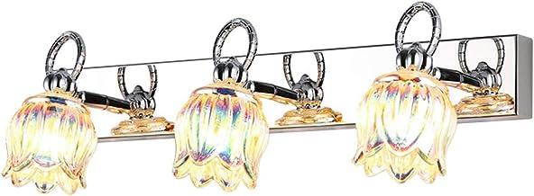 Spiegellichten Spiegellamp, 3-hoofd Lamp met Kleur Glas Cover Aan de Nachtkastmuur zonder perforatie aan de zijkant van de...