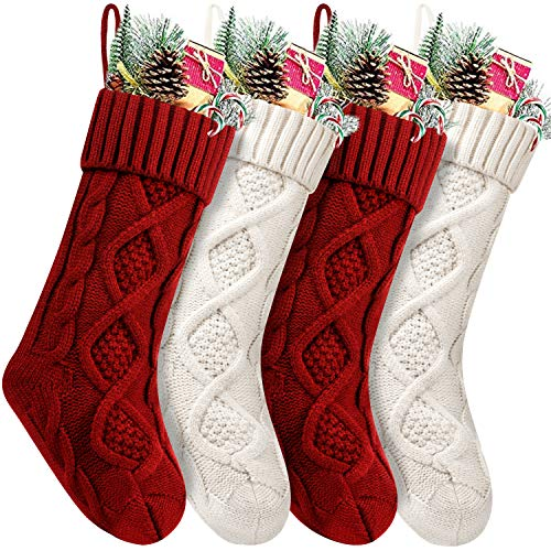 Fesciory 4 Pack Christmas Stockings 18 Inches Large Size Cable Knitted Stocking Gifts & Decorations for Family Holiday Xmas Party, Ivory White and Burgundy