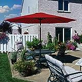 AXT SHADE Sombrilla Parasol 270CM Sombrilla Jardin,Sombrillas Terraza para Jardín,con 8 Varillas, Impermeable, inclinable con manivela para Patio/Playa/Piscina-Rojo