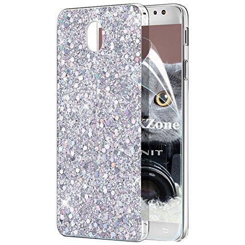 OKZone Funda Samsung Galaxy J7 2017, Cárcasa Brilla Glitter Brillante TPU Silicona Parachoque Teléfono Smartphone Móvil Case [Protección a Pantalla y Cámara] para Samsung Galaxy J7 2017 (Plata)