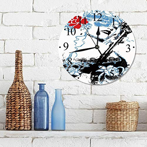 Big horn deer Silencioso Wall Clock Decoración de hogar de Reloj de Redondo,Reina, Grungy Vintage Mujer con Corona y Rosas Arte gótico Femenina, Azul CIE,para Hogar, Sala de Estar, el Aula
