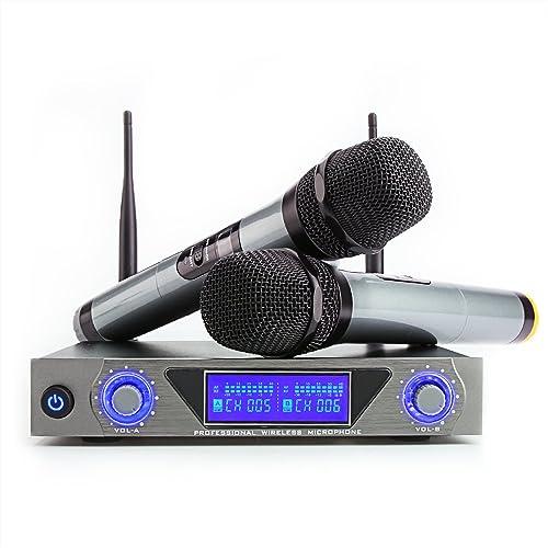 Karaoké Micro sans Fil ARCHEER Microphone sans Fil UHF Professionnel Micro HF Dynamique 2 Micro à Main + 1 Récepteur ...