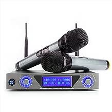 Microfono inalámbrico UHF HF Karaoke Sistema de LCD Receptor 2Canales 2micró de Mano para reunión DJ Fiesta Conferencia, Plata