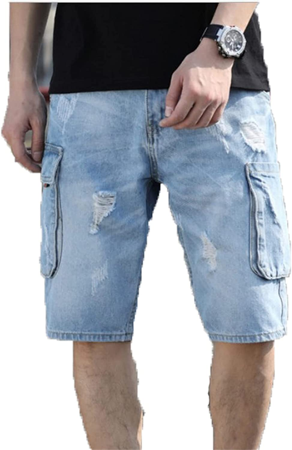 JIFRE Denim Overalls Shorts Men's Multi-Pocket Middle Pants Ripped Five-Point Pants