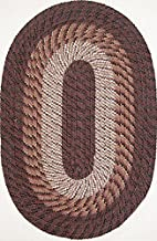 "product image for Plymouth 7'4"" x 9'4"" (88"" x 112"") Oval Braided Rug in Chestnut Brown Made in USA"