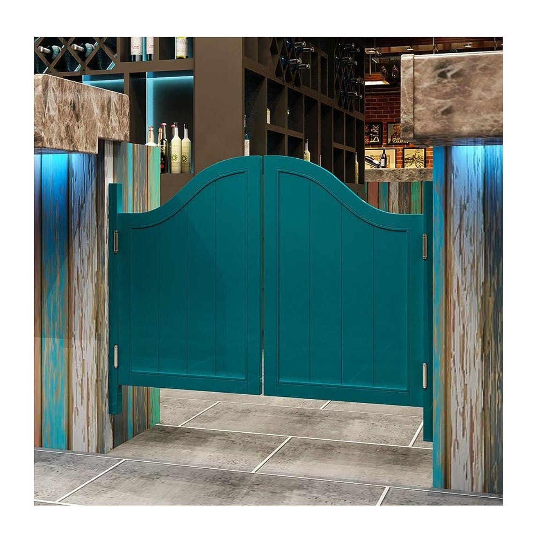 温かいマガジン驚カフェドアーズ スイングドア木製 バードア メッシュフェンス 入り口 廊下 寝室 白 青い 、22サイズ カスタマイズをサポート (Color : B, Size : 75x90cm)