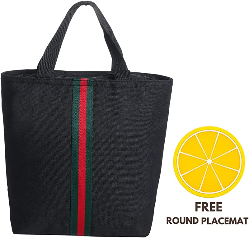 Lunch Bag Large Insulated Lunch Bags For Women Men Tote Bag Adult Lunch Box Organizer Holder Container Black