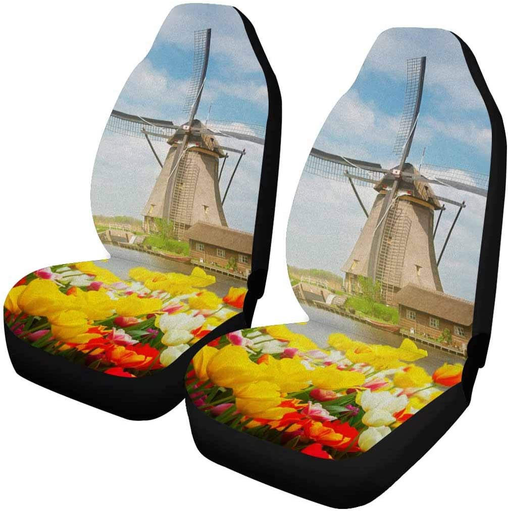 INTERESTPRINT Beauty products Holland Dutch Windmill Over Colful Fr Field Sale Tulips