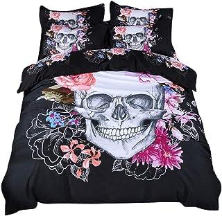 HotYou Colcha Noche de Terror - Gótico Oscuro - Estampado Flores de Calavera - Suave y Comodo,como Imagen,220x240cm(1*Quilt Cover + 2*Pillowcase)