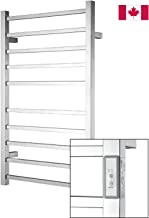 Towel Warmer | Built-in Timer with Led Indicators | 3 Timer Modes: ON/Off, 2 H, 4 H | Wall Mounted | 10 Bars | High Polish Chrome Stainless Steel