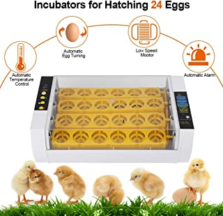 Incubators for Hatching Eggs with Automatic Turner, Intelligent Egg Incubator Hatche Auto Temperature Keep Humidity Control 24 Eggs Poultry Hatcher with Digital Display for Chickens Ducks Goose Birds