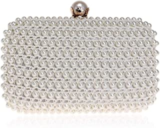 Bag for Women Women's Dress Clutch Bag Evening Bag Ladies Beaded Bag Pearl Dinner Bag (Color : White, Size : XS)