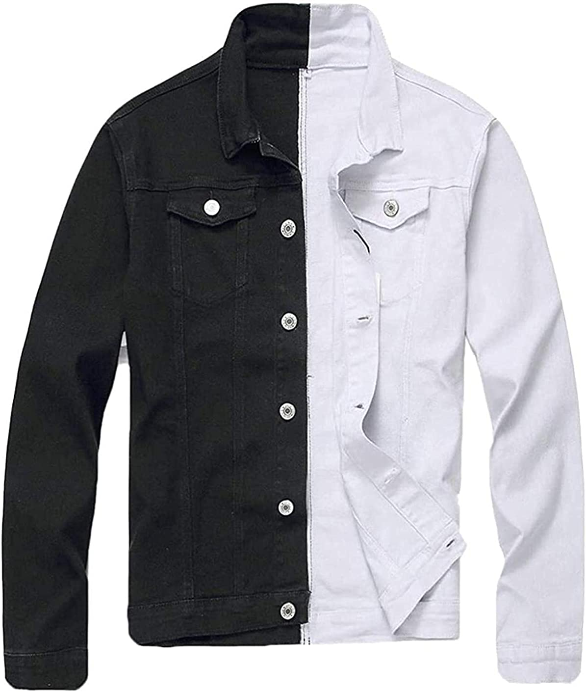 FHdbing Max 81% OFF Mens Cotton Color Block Mail order Stretchy Denim Sleeve Jacke Long