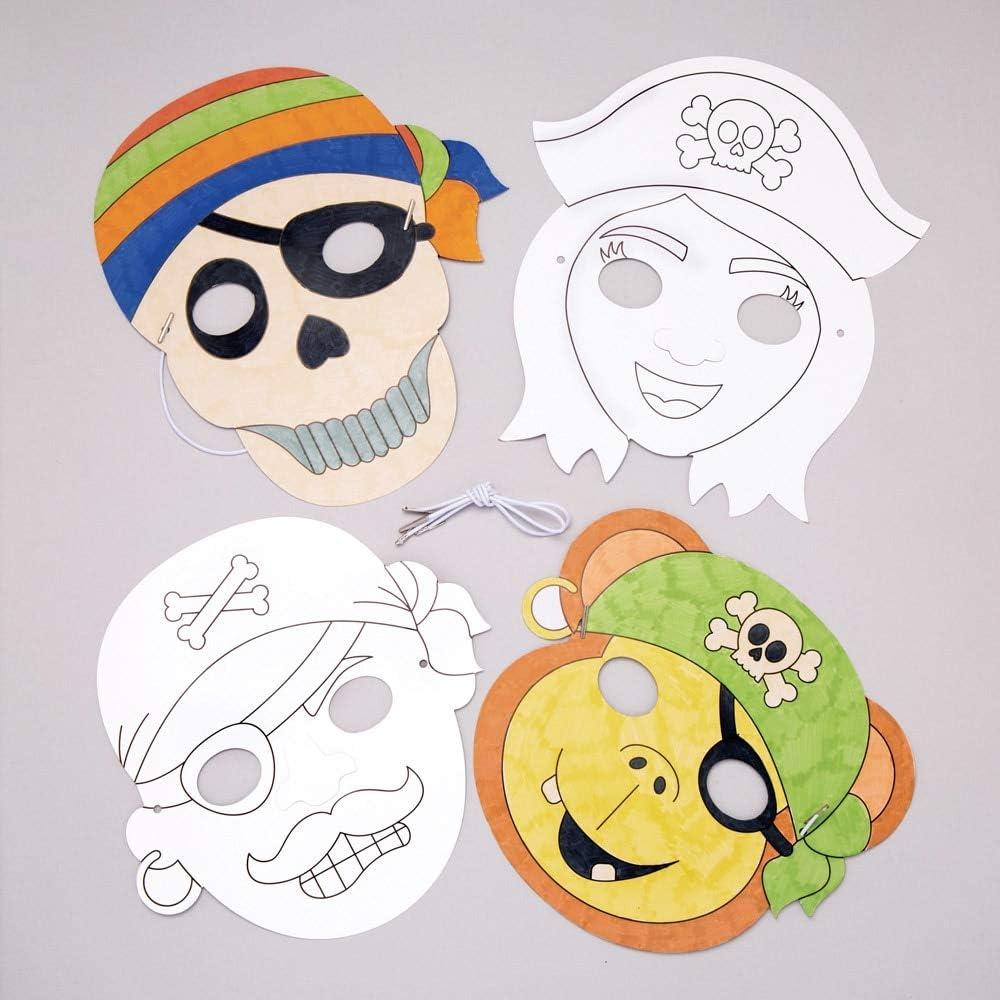 """Baker Ross Masken """"Piraten"""" zum Ausmalen (26 Stück) – Masken mit  verschiedenen Piraten für Kinder zum Gestalten und Verkleiden"""