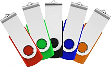 JUANWE 5 Pack USB 3.0 Flash Drive 64GB USB Thumb Drive Jump Drive Pen Drive Memory Stick Swivel Design - Black/Red/Blue/Green/Orange (64GB, 5 Mixed Color)