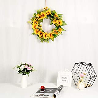 LianLe Artificial Sunflower Summer Wreath, 45cm Sun Flower Vine Wreath, Handmade Sunflower and Eucalyptus Leaf, for Front Door Spring Wreath Decoration, Wedding, Wall, Home Decor Nearby