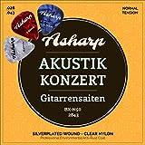 Asharp Gitarrensaiten für klassische Gitarre inkl. 3 Plektren – Premium Nylon-Saiten Satz für Konzertgitarre und Akustikgitarre