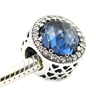 FASHICON Moonlight Blue Radiant Hearts Crystal Charm Beads 925 Sterling Silver DIY Fits European Charm Bracelet Jewelry