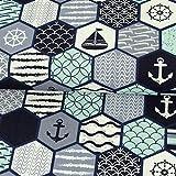 Dekostoff Maritim Patchwork marine mint Canvastoff - Preis