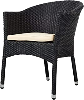 KARMAS PRODUCT Outdoor Dining Rattan Chairs Patio Garden Furniture with Seat Cushions,Weave Wicker Armchair 1 PC (Black)