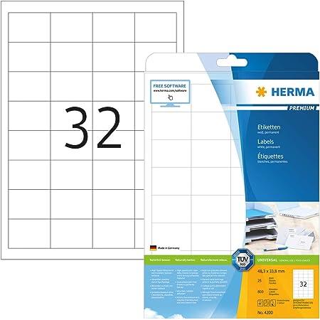 HERMA 4200 Universal Etiketten DIN A4 klein (48,3 x 33,8 mm, 25 Blatt, Papier, matt) selbstklebend, bedruckbar, permanent haftende Adressaufkleber, 800 Klebeetiketten, weiß