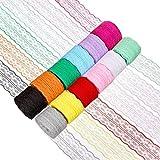 Cinta Encaje, XiYee 12 Rollos de 4.5cm x 10m Multicolor Adornos Cinta Encaje por El Rollo de Invitacion de Boda, Tarjetas, Costura, Fabricación de Lazo de Pelo, Envoltura de Paquete de Regalo