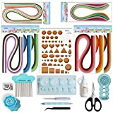 JUYA Paper Quilling Kit with Blue Tools 960 Strips Board Mould Crimper Coach Comb (Paper Width 3mm with Glue)