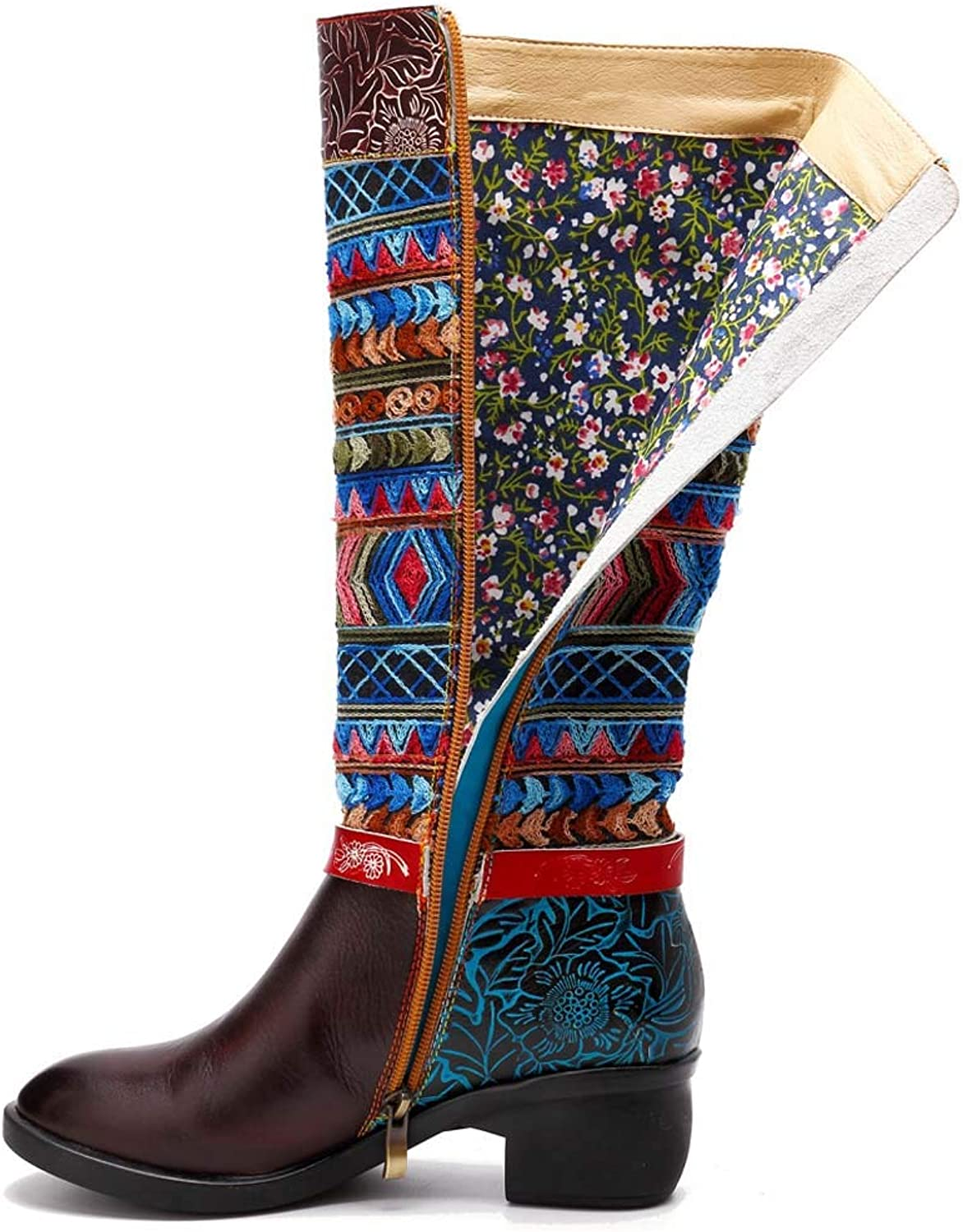 Women's Casual Vintage Handmade Genuine Leather Knee Boots, Comfortable Breathable Side Zipper High Boots