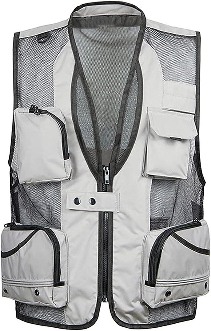 Men's Thin Mesh Vest Work Jacket Multi-Pocket Men's Sleeveless Jacket