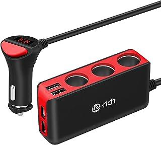 Chargeur de Voiture, Te-Rich 120W Chargeur 3 Prises Adaptateur Allume-Cigare avec 6.8A 4..