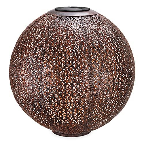 Navaris Farol Solar de jardín - Bola de jardín para Exteriores de 30 CM con luz LED cálida y Encendido automático - Estilo Oriental en marrón