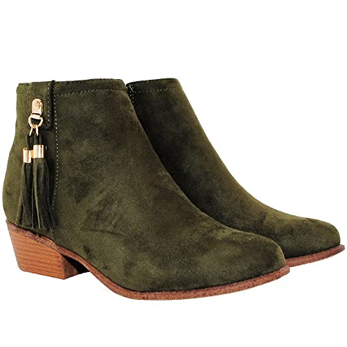 0f8475bfdfed TRENDSup Collection Women s Western Inside Zipper Stacked Heel Ankle Booties