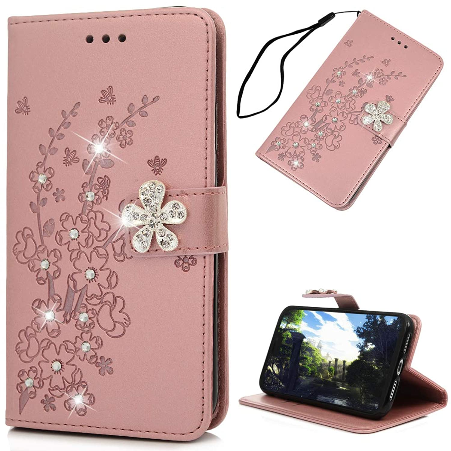 iPhone Xs Max Case, Mavis's Diary Embossed Plum Flowers Wallet 3D Handmade Bling Butterfly Crystal Diamond PU Leather Shockproof Protective Cover for iPhone Xs Max 2018 - Pink
