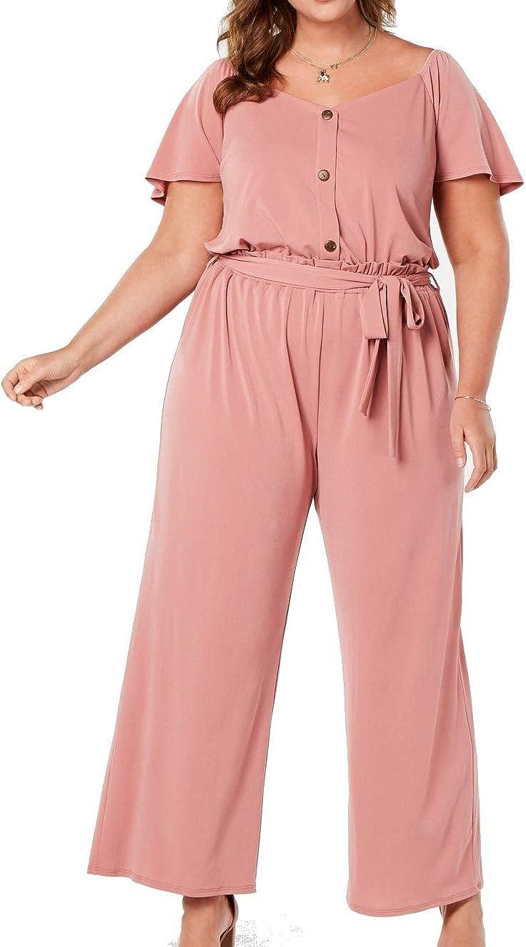 Monteau Womens Pink Belted Short Sleeve Jewel Neck Wide Leg Wear to Work Jumpsuit Size 1X