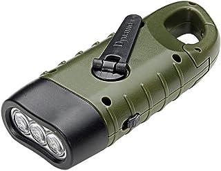 PAWACA LED linterna, mano manivela dinamo solar powered batería Linterna con mosquetón, Gran Mini linterna para al aire libre Camping Canotaje senderismo escalada pesca caza