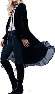 Best Womens Ruffled Asymmetric Long Velvet Blazers Coat Casual Jackets Review