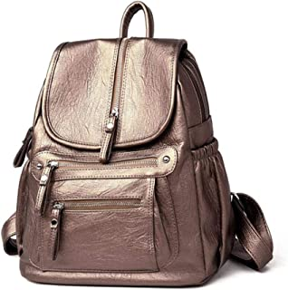 Women Backpack Faux Leather Large Capacity Fashion Vintage Shoulder Bags,Gold