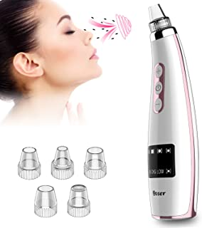 Bvser Blackhead Remover Vacuum, Electric Facial Pore Vacuum Acne Comedone Suction Extractor Cleaner Tool Kit USB Rechargeable with LED Display 6 Probes for Women and Men Facial Skin