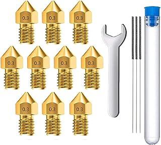 MMOBIEL 10 stuks 0.3mm Messing MK8 3D Printer Nozzles Extruder geschikt voor Creality Ender 3 Series, Ender 5 Series, CR-1...