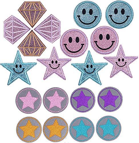 TOCYORIC 20 Parches de Planchado para Miños, Kit de Emoticonos, Diamantes, Estrellas con Parches, Estrellas para Planchar de Estrellas Pequeñas, Redondos, para Bolsas de Ropa con Kit de Costur